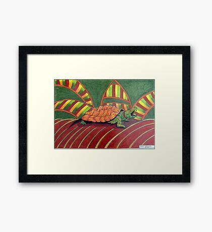 409 - ALLIGATOR SNAPPING TURTLE - DAVE EDWARDS - COLOURED PENCILS - 2014 Framed Print