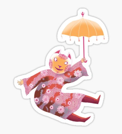 Magic Cat with Parasol Sticker