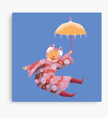 Magic Cat with Parasol Canvas Print