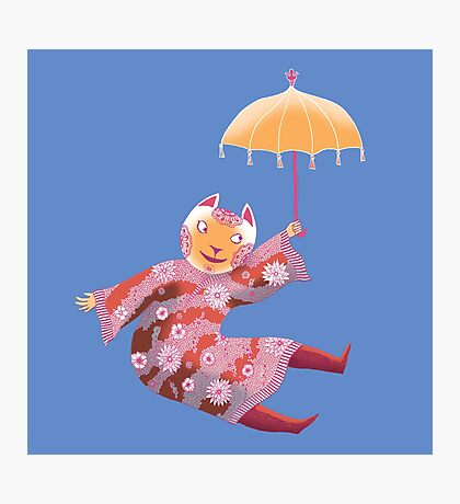 Magic Cat with Parasol Photographic Print