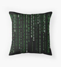 matrix code Throw Pillow