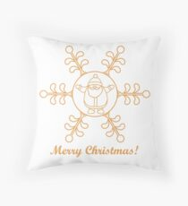 Christmas series: nice picture with Santa Claus in a snowflake in a linear style. Throw Pillow