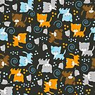 Cute Kittens and Mice Pattern by JessDesigns