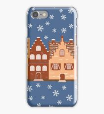 Vector illustration houses in the snow. iPhone Case/Skin