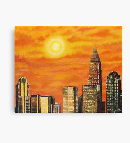 'City in the Golden Light' (Charlotte, NC) Canvas Print