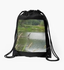 double crested cormorant #1 Drawstring Bag
