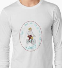 Joyful Blonde Bicyclist Long Sleeve T-Shirt