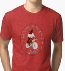 Joyful Ebony African Cyclist Bicyclist Tri-blend T-Shirt