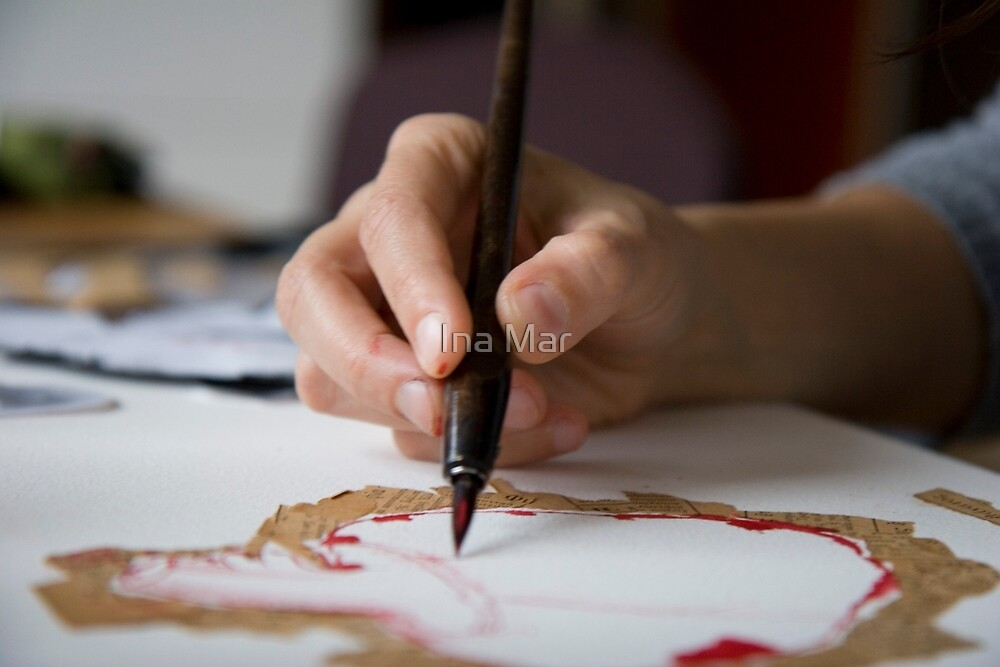 """me drawing """"one week heart"""" by Ina Mar"""