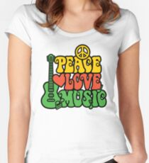 Reggae Peace-Love-Music Women's Fitted Scoop T-Shirt