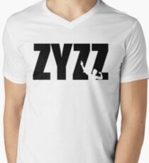 Zyzz Text Black Mens V-Neck T-Shirt