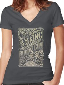 BB King Hollywood Bowl Vintage Concert Poster Women's Fitted V-Neck T-Shirt