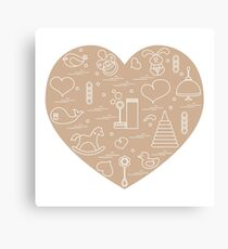 Vector illustration kids elements arranged in a heart: bird, whale, pacifier, bubbles, pyramid, beanbag, rabbit, duck and other. Canvas Print