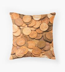 Pile of American pennies Throw Pillow