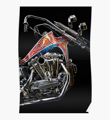 Evel Knievel Harley XLCH Chopper Engine Poster