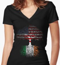 American Grown, Irish Roots Women's Fitted V-Neck T-Shirt