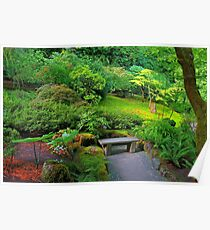 Bench, Japanese Garden, Butchart Gardens, BC Poster