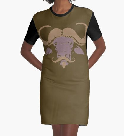 Buffalo Mustache (Brown) Graphic T-Shirt Dress