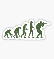 Evolution of ape to airsofter Sticker