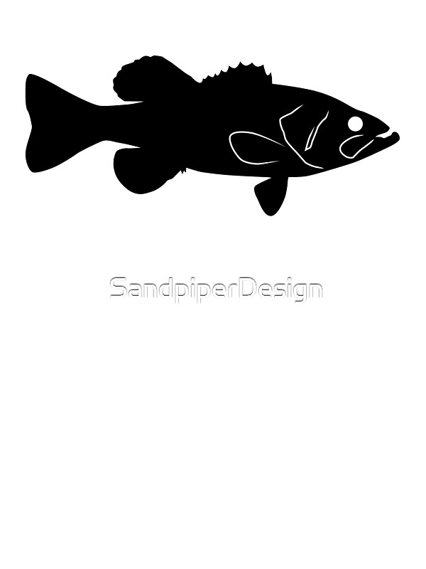 Largemouth Bass Fish Silhouette Black Stickers by