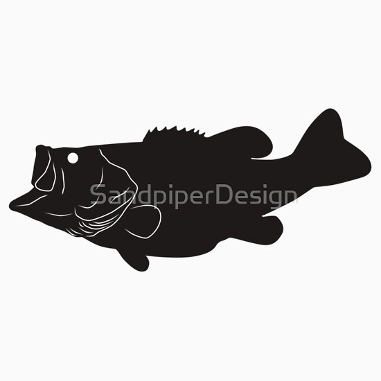 """""""Largemouth Bass Fish Silhouette (Black)"""" Stickers by ..."""
