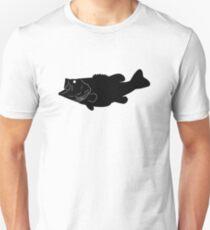Largemouth Bass Fish Silhouette (Black) Unisex T-Shirt