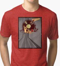 Rock Music Vinyl Record Collage 1 Tri-blend T-Shirt