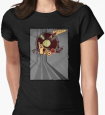Rock Music Vinyl Record Collage 1 Womens Fitted T-Shirt
