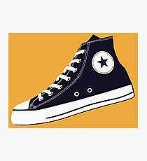 All Star Inspired Hi Top Retro Sneaker in Navy Blue Photographic Print