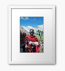 Maasai Man with Baby Goat  - Ngorongoro No4279FV1 Framed Print