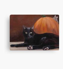 Sneak Peek Black Cat & Pumpkin Canvas Print