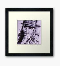 Ink Pen Portrait of Fidel Castro Framed Print
