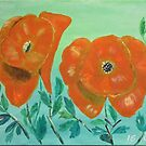 Acrylic painting, two red poppy flowers by naturematters