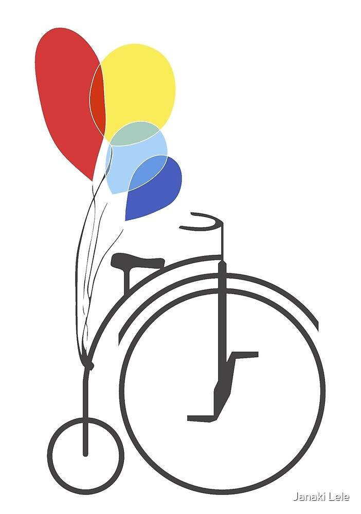 Penny Farthing with Balloons by Janaki Lele