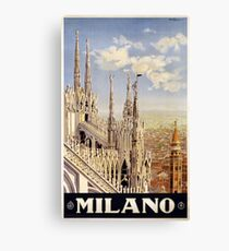 Vintage 1920 Milan Italy Travel Poster Canvas Print