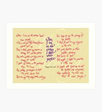 The Warning - When I am an old woman I shall wear purple Art Print