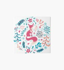 Fox with winter flowers and snowflakes Art Board