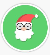 Santa on Green Sticker