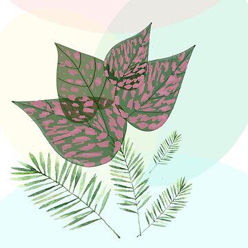 Pastel leaves by Elbas
