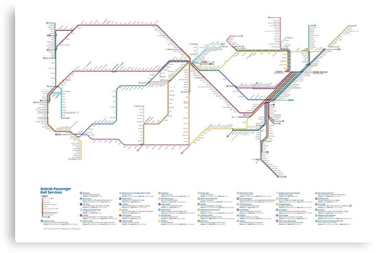 US Rail Network As A Subway Map Canvas Prints By Cameron Booth - Map of us rail network