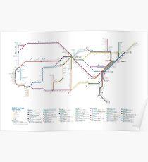 US-Schienennetz als U-Bahn-Karte Poster
