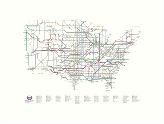 U S Numbered Highways As A Subway Map Art Prints By Cameron Booth