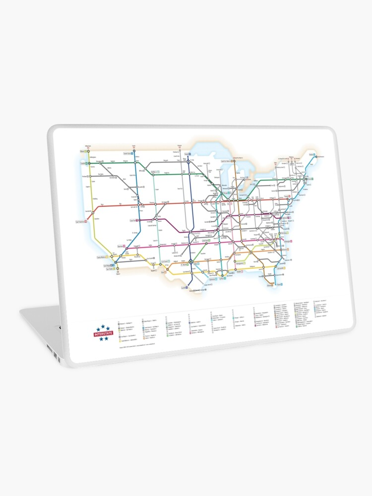 As A Subway Map.U S Interstate Highways As A Subway Map Laptop Skin