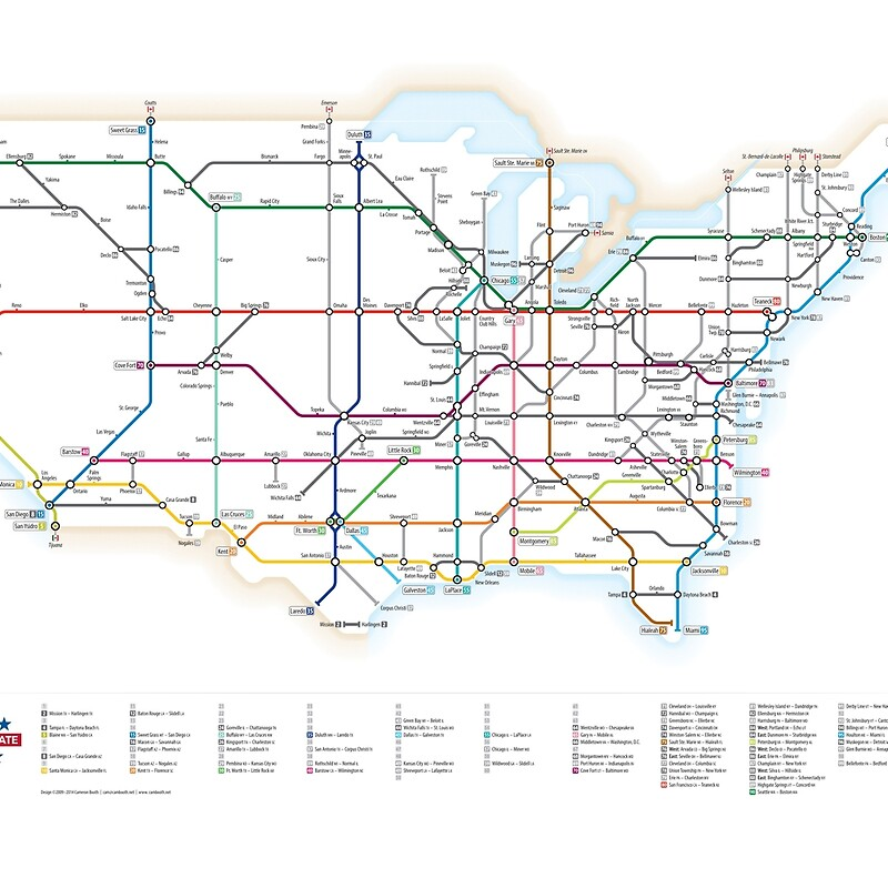 U S Interstate Highways As A Subway Map