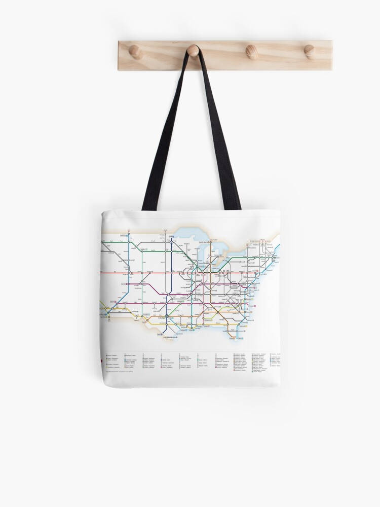 U.S. Interstate Highways as a Subway Map | Tote Bag