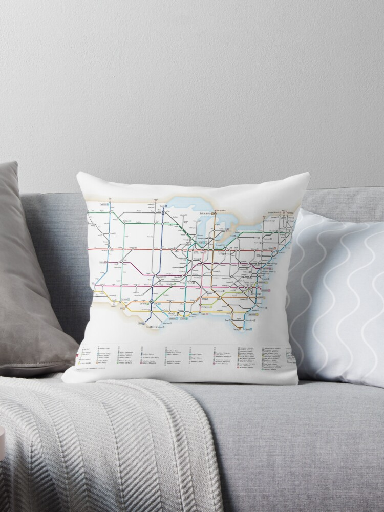 Us Highway As A Subway Map.U S Interstate Highways As A Subway Map Throw Pillow By Cameron Booth