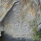 Mine Bay Maori Rock Carvings, New Zealand by Margaret  Hyde
