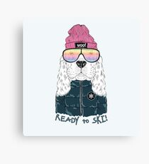 Ready To Ski Dog Canvas Print