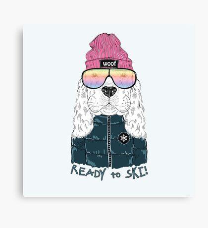 Ready To Ski Dog Canvas Print