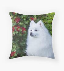 Japanese Spitz Holiday Portrait Throw Pillow